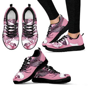 Nightmare Before Christmas Running Shoes - Jack Skellington & Sally Kiss Women's Lace Sneakers in Black & Pink