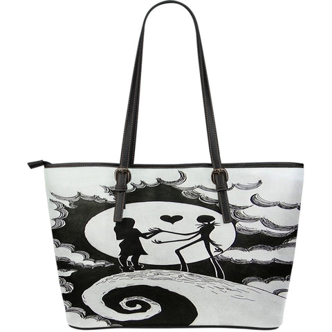 Jack Skellington & Sally in the Clouds Women's Leather Tote Bag in Black & White