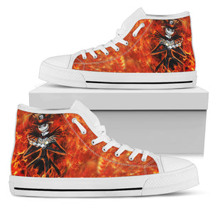 Jack Skellington's Flaming Hot Women's High Top Canvas Sneakers in Red