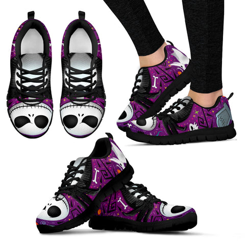 Nightmare Before Christmas Running Shoes - Jack Skellington Pop of Color Women's Lace Up Sneakers in Purple