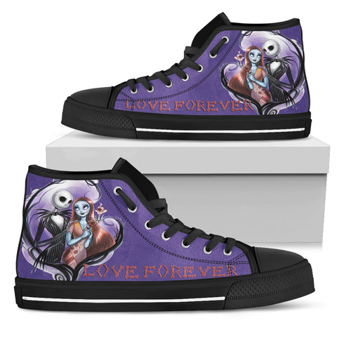Nightmare Before Christmas Running Shoes - Jack Skellington Love Forever on the Moon Women's High Top Canvas Sneakers in Purple