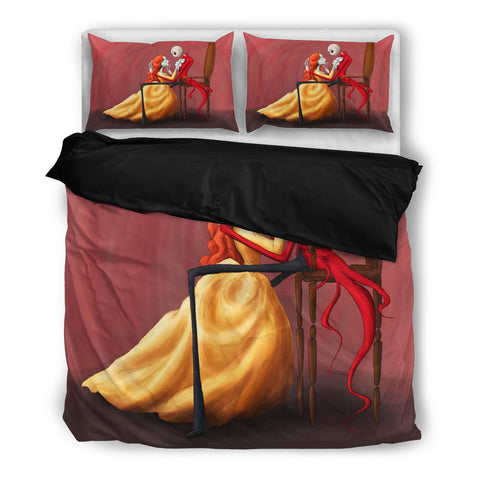 Queen Bed, King Bed, and Twin Bed - Nightmare Before Christmas Bedding Sets - Jack Skellington & Sally Sweet Dance 3-Piece Bedding Set in Red