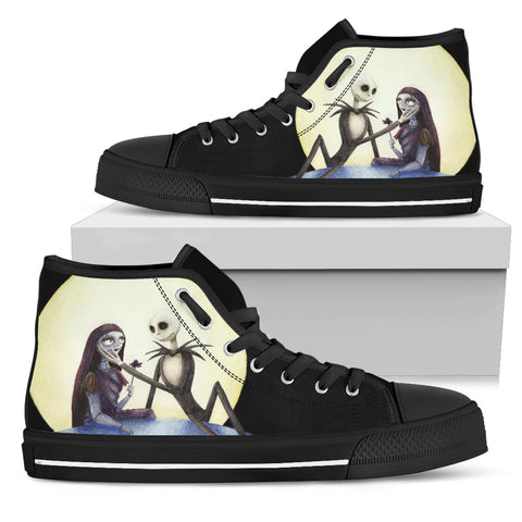 Nightmare Before Christmas Shoes - Jack Skellington & Sally Love on the Moon Women's High Top Canvas Sneakers in Black
