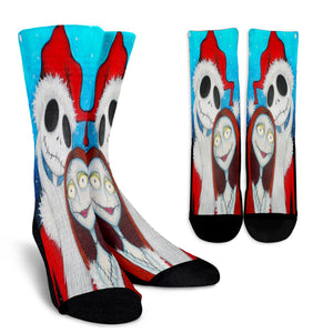 Jack Skellington & Sally Christmas Edition Casual Crew Socks in Blue