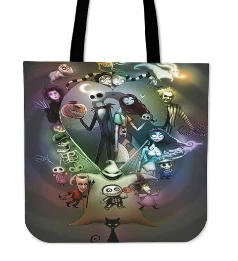 Jack Skellington Tim Burton Women's Canvas Tote Bag in Black