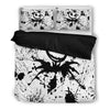 Queen Bed, King Bed, and Twin Bed - Nightmare Before Christmas Bedding Sets - Jack Skellington Paint Splatter Artwork 3-Piece Bedding Set in Black & White