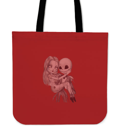 Lovely art of Jack & Sally!! Jack Skellington women's Tote Bag