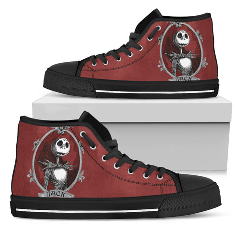 Nightmare Before Christmas Shoes - Jack Skellington Portrait Women's High Top Canvas Sneakers in Red