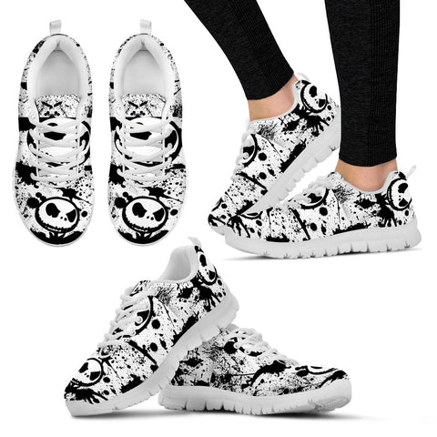 Nightmare Before Christmas Running Shoes - Jack Skellington Splatter Women's Lace Up Sneakers in Black & White