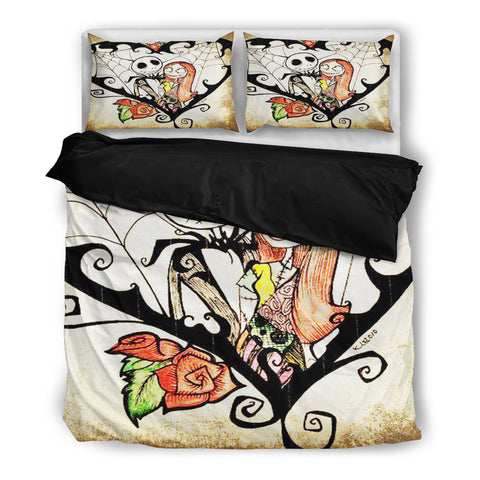 Queen Bed, King Bed, and Twin Bed - Nightmare Before Christmas Bedding Sets - Jack Skellington & Sally's Web of Love 3-Piece Bedding Set in White