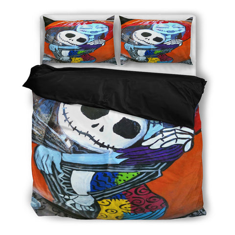 Queen Bed, King Bed, and Twin Bed - Nightmare Before Christmas Bedding Sets - Jack Skellington & Sally Watercolor Artwork 3-Piece Bedding Set Red & Blue