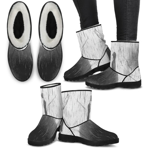 Jack Skellington & Sally Ombre Rainstorm Women's Suede Faux Fur Boots in Gray