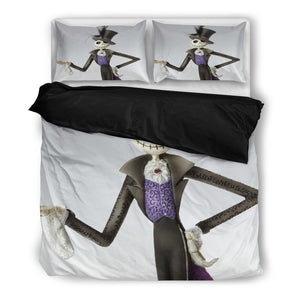 Queen Bed, King Bed, and Twin Bed - Nightmare Before Christmas Bedding Sets - Jack Skellington's Fancy Costume 3-Piece Bedding Set in White