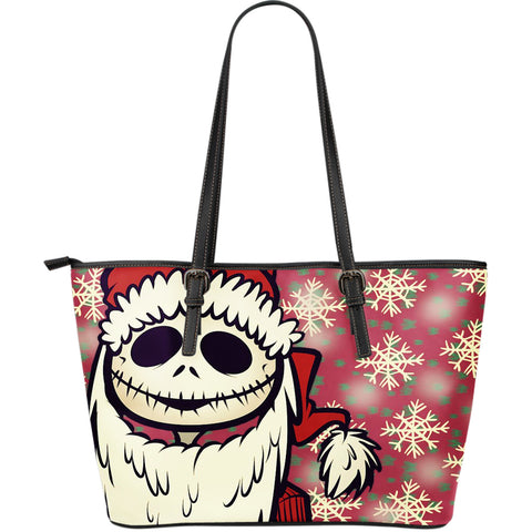 Jack Skellington Christmas Collection Women's Leather Tote Bag in Red