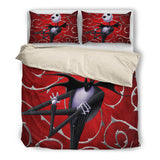 Jack Skellington Rose Thorn 3-Piece Bedding Set in Red