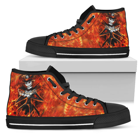 Nightmare Before Christmas Shoes - Jack Skellington's Flaming Hot Women's High Top Canvas Sneakers in Red