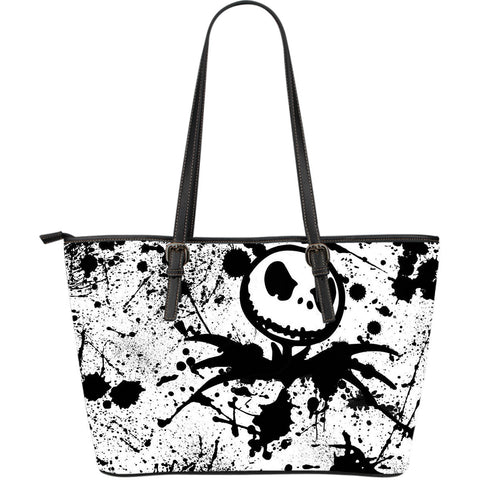 Jack Skellington Paint Splatter Women's PU Leather Tote Bag in Black & White