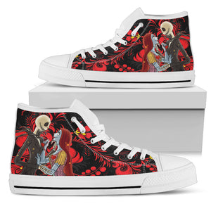 Jack Skellington & Sally are In Love Women's High Top Canvas Sneakers in Red