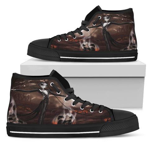 Nightmare Before Christmas Shoes - Jack Skellington Smoky Halloween Pattern Women's High Top Canvas Sneakers in Black