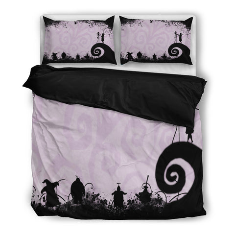 Jack Skellington & Sally in Halloween Town 3-Piece Bedding Set in Purple