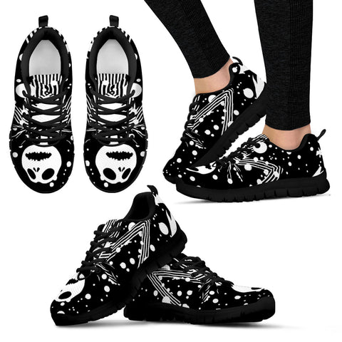 Nightmare Before Christmas Running Shoes - Jack Skellington Stripe Tuxedo Women's Lace Up Sneakers in Black