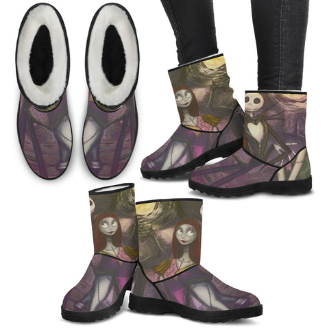 Jack Skellington & Sally Over the Moon Women's Suede Faux Fur Boots in Purple