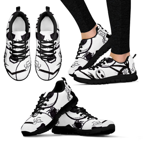 Jack Skellington Spider Women's Lace Up Sneakers in White