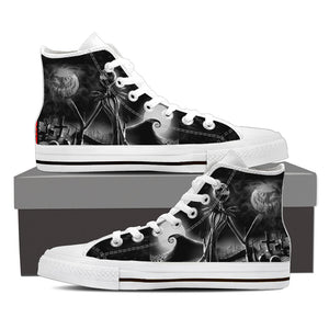 Nightmare Before Christmas Shoes - JJack Skellington Gothic King Women's High Top Canvas Sneakers in Black