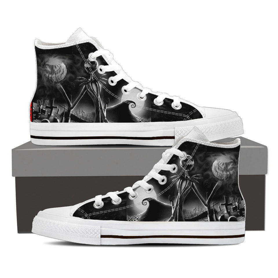 Jack Skellington Gothic King Women's High Top Canvas Sneakers in Black