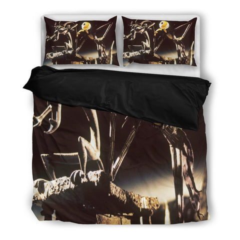 Jack Skellington Gothic Sculpture 3-Piece Bedding Set in Black