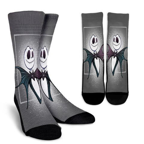 Jack Skellington Batty Portrait Casual Crew Socks in Dark Gray
