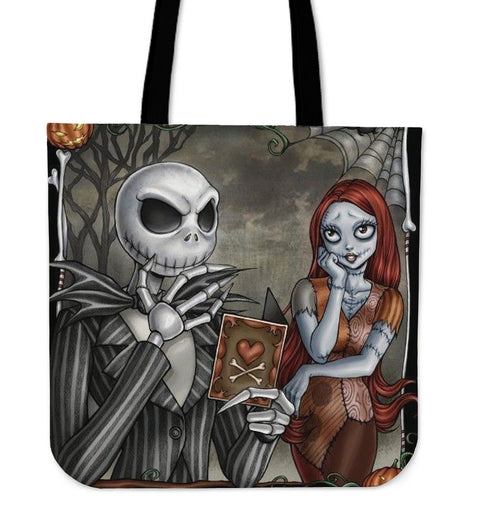 Jack Skellington is Adored by Sally Women's Canvas Tote Bag in Dark Gray