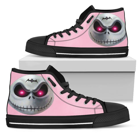 Nightmare Before Christmas Shoes - Jack Skellington Evil Face Women's High Top Canvas Sneakers in Pink