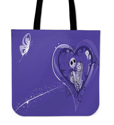 Jack Skellington & Sally Are In Love Women's Canvas Tote Bag in Blue