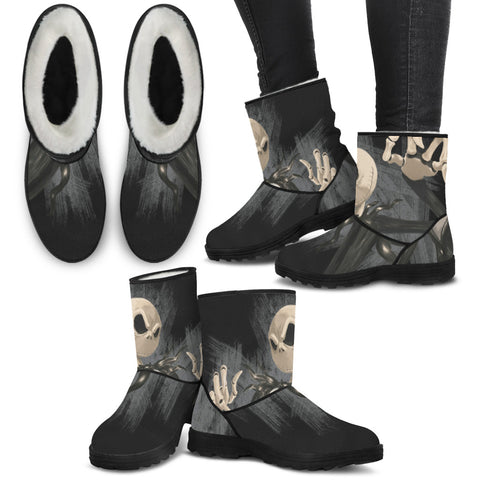 Jack Skellington Lurking at Night Women's Suede Faux Fur Boots in Black