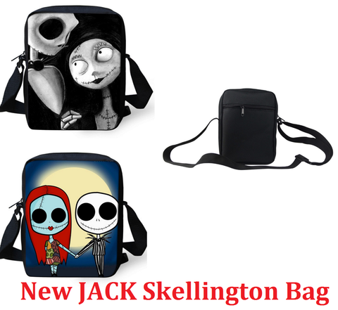Jack Skellington & Sally Casual Messenger Sling Crossbody Bag in Black