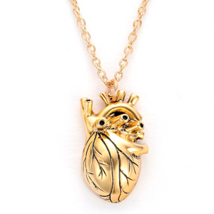 Anatomical Heart Pendant Necklace - Gold & Silver Chain Jewelry