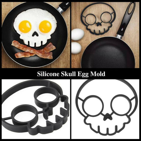 Skull Shaped Egg Mold Food-Safe Silicon Rubber in Black
