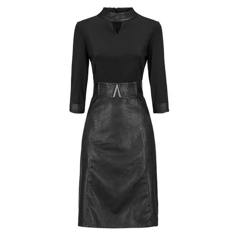 Gothic Half Sleeve Bodycon Women's Dress Leather Skirt and Belt in Black