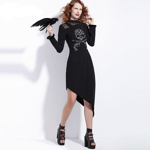 Gothic Skull Asymmetric Long Sleeve Women's Harajuku Midi Dress in Black
