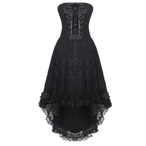 Gothic Victorian Strapless Corset Dress with Dovetail & Bustier Design