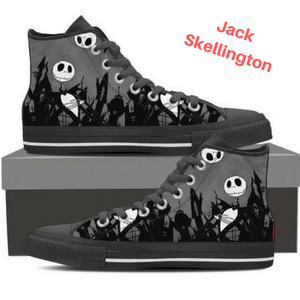 Nightmare Before Christmas Shoes - Jack Skellington at the Cementery Women's High Top Canvas Sneakers in Dark Gray