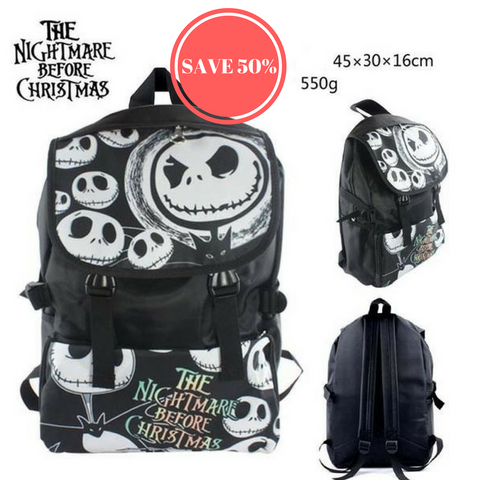 Top Quality Jack Skellington Waterproof Laptop Monochrome Backpack