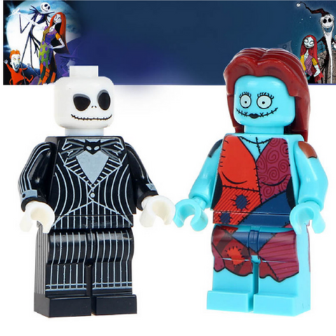 2 pcs/lot Building Blocks Jack Skellington & Sally Mini Dolls