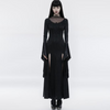 Women's Gothic Long Dress Costume with Flared Cuffs & Vintage Lace