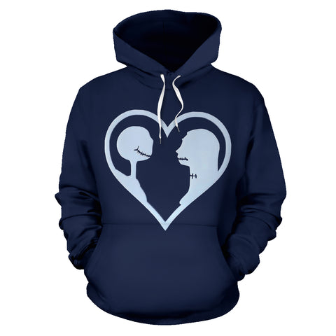 Jack Skellington & Sally Heart Shape Unisex Graphic Pullover Hoodie in Navy Blue