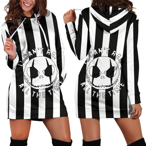 Jack Skellington Stripes Women's Hoodie Dress in Black and White