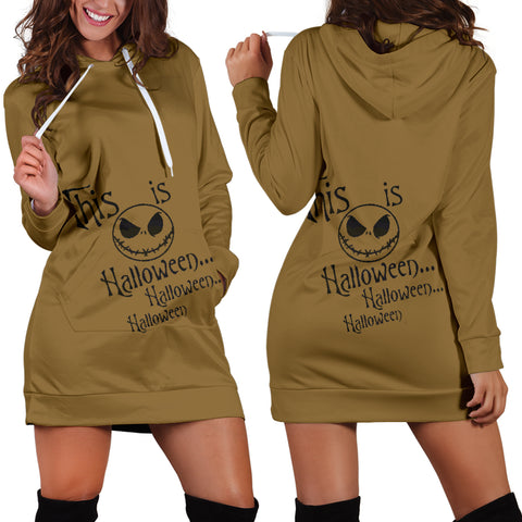 Jack Skellington This Is Halloween Women's Hoodie Dress in Brown