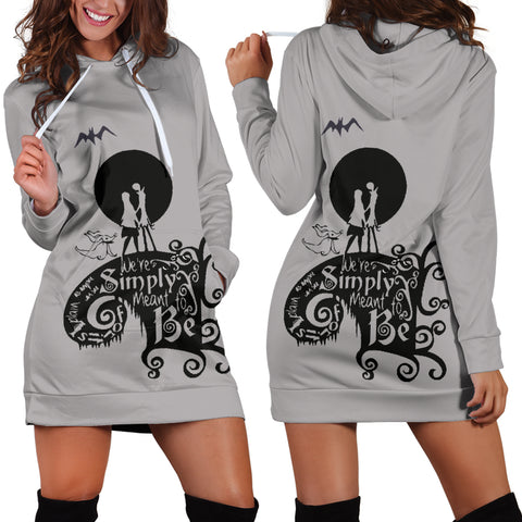 Jack Skellington & Sally Meant To Be Women's Hoodie Dress in Gray