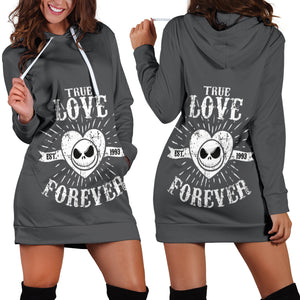 Jack Skellington True Love Forever Women's Hoodie Dress in Dark Gray